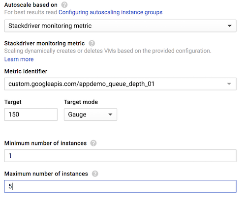 Detail of the 'Instance groups' page in edit mode, showing the recommended settings