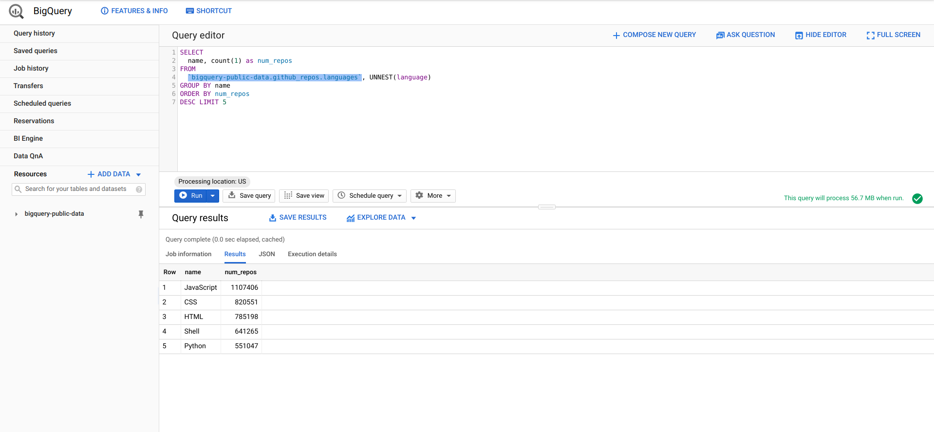 BigQuery web console features.