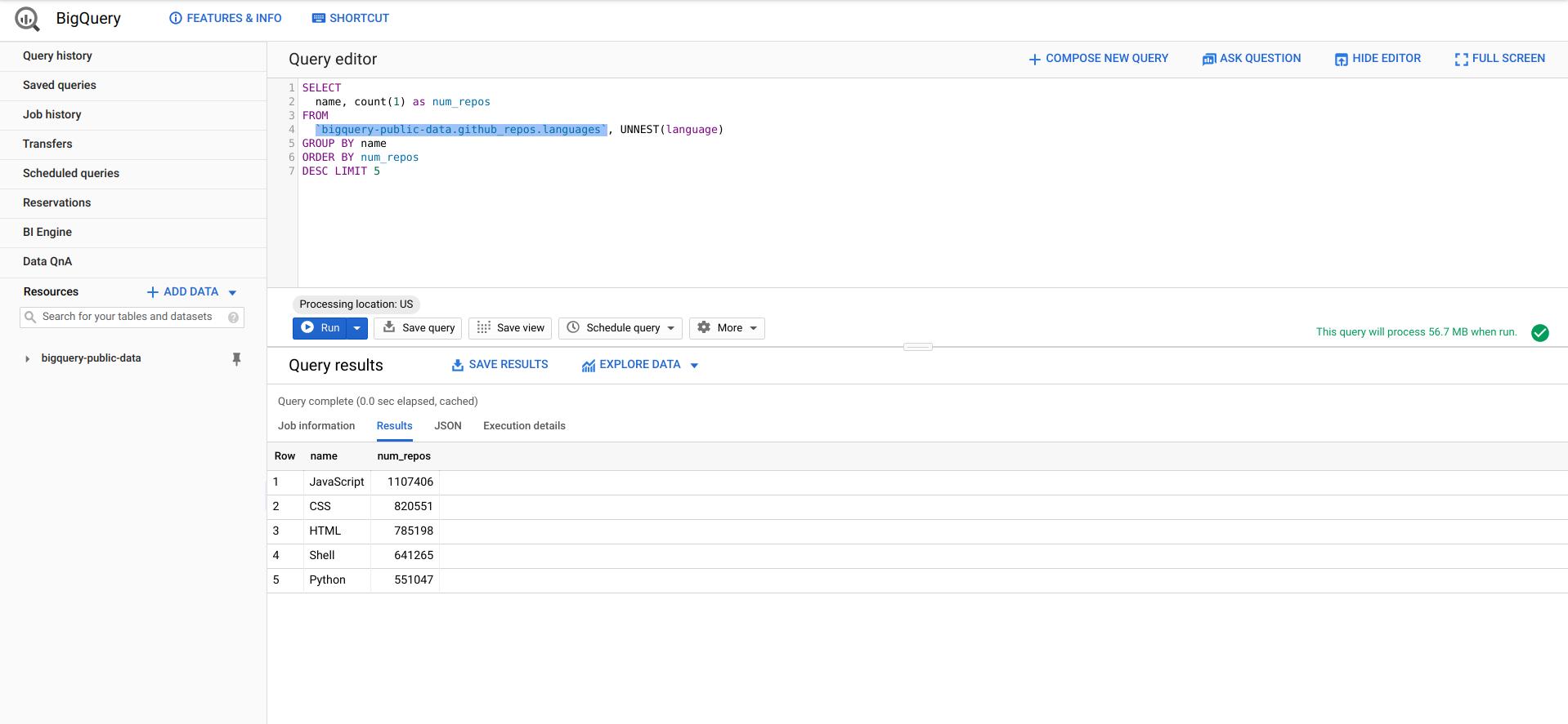 BigQuery Web 控制台功能。