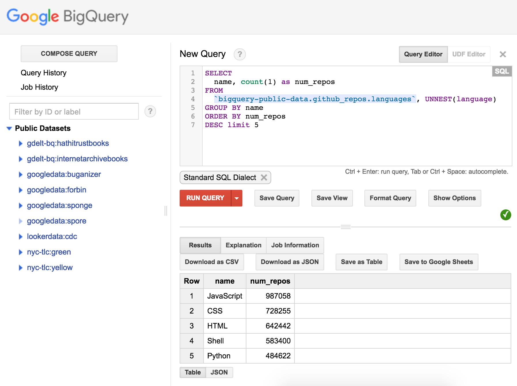 Bild: Screenshot BigQuery-Web-UI
