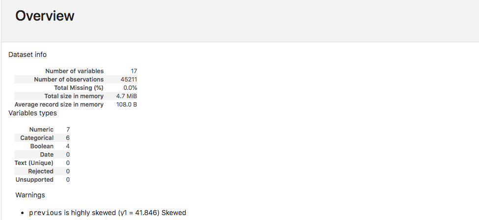 Screenshot of Pandas Profiling report overview.