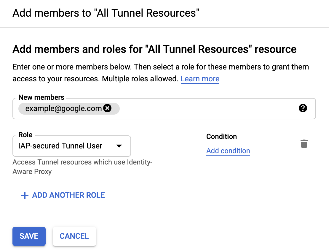 """""""Add Principals"""" dialog box with a new principal name added and the """"IAP-secured Tunnel User"""" role selected."""