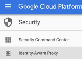 """Opção IAP na página """"Segurança"""" do Console do Cloud."""
