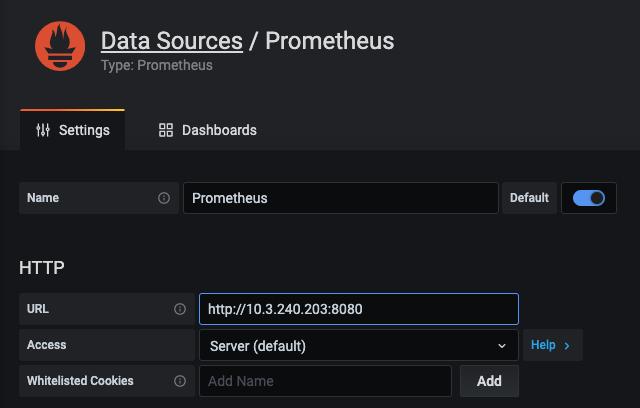 URL del extremo del servicio de Prometheus.
