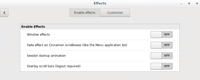 Disabling animation effects in Cinnamon.