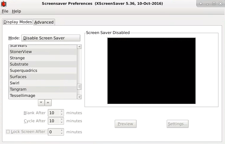 Disabling the screensaver in Xfce.