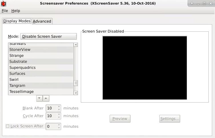 Xfce でのスクリーンセーバーの無効化