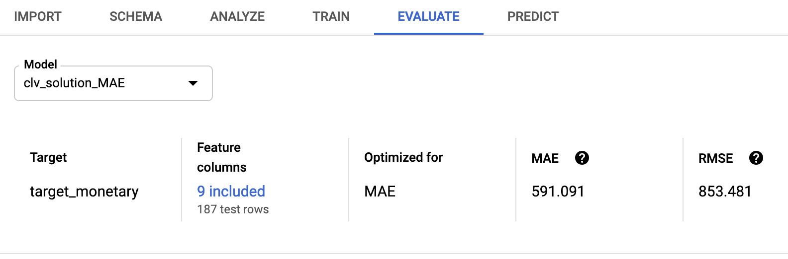 Pestaña Evaluate (Evaluar) de la consola de AutoMLTables