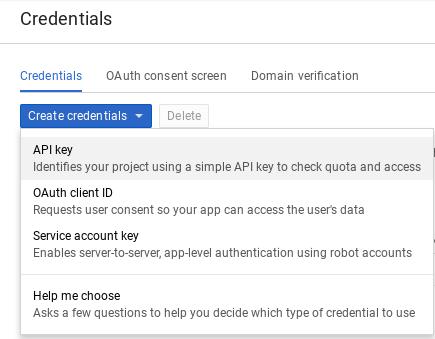 Página Crear credenciales