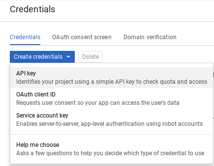 Create credentials page