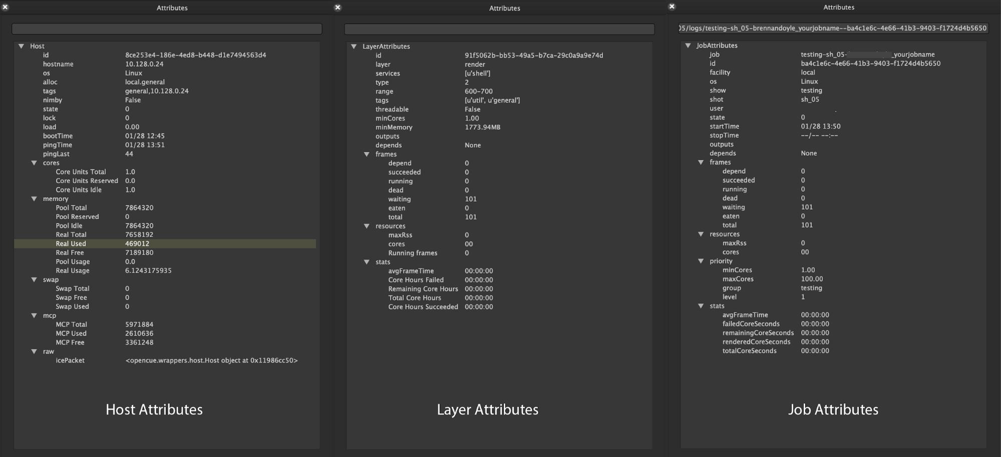 Attributes window of OpenCue