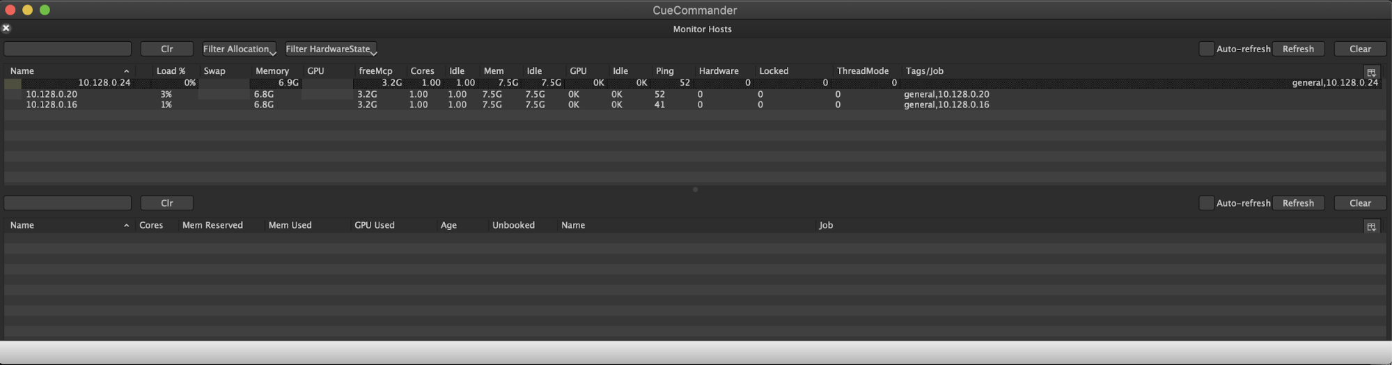 Ventana Monitor Hosts (Supervisar hosts) en OpenCue