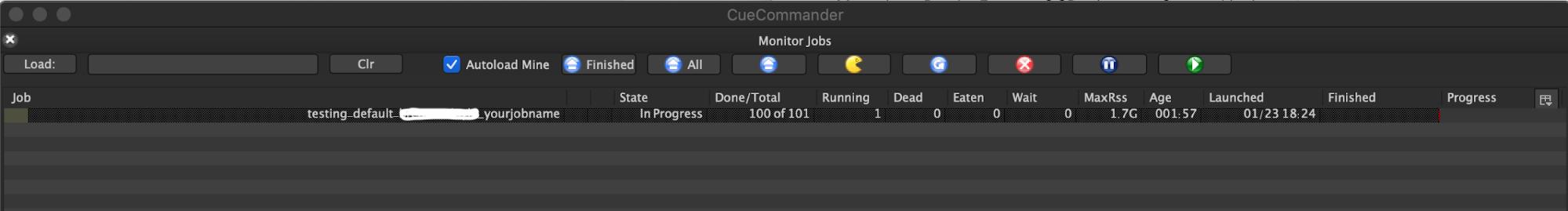 Ventana Monitor Jobs (Supervisar trabajos) en OpenCue