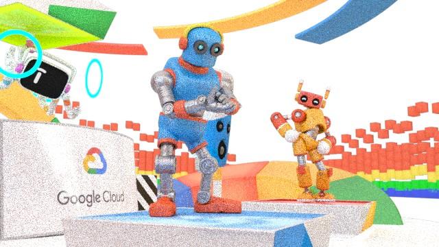 Imagen de baja resolución de una fiesta de robots