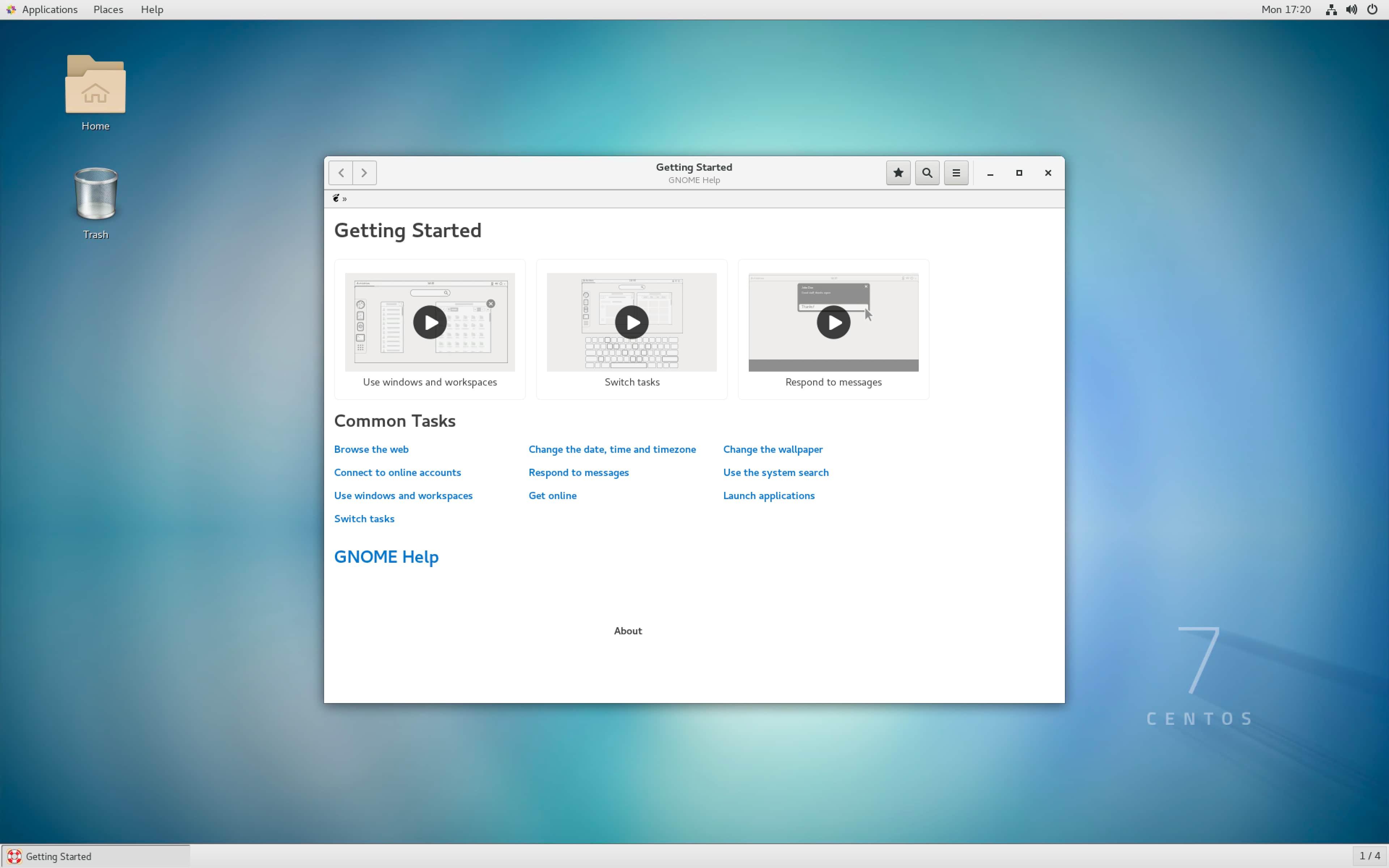 仮想ワークステーション内の Linux デスクトップ