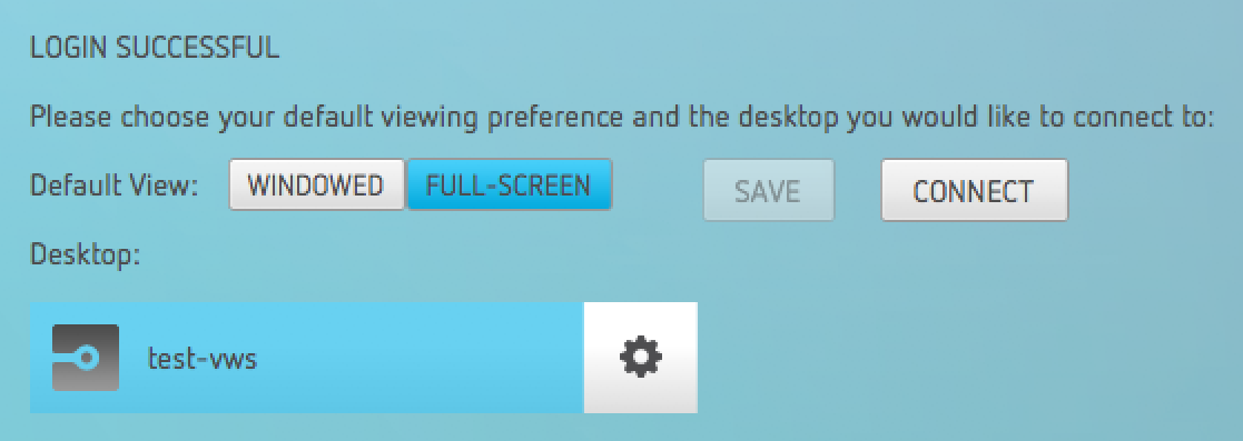 Selecting a desktop to connect to.