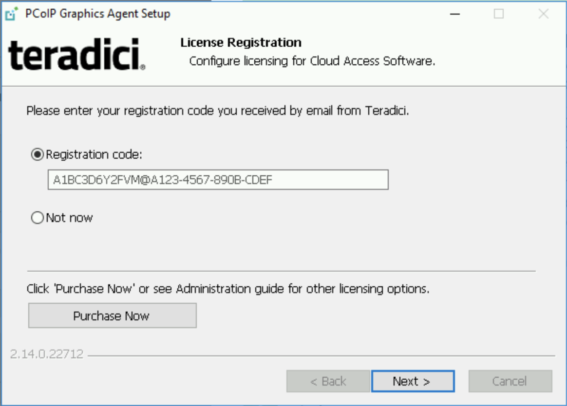 Registering the Teradici registration code.