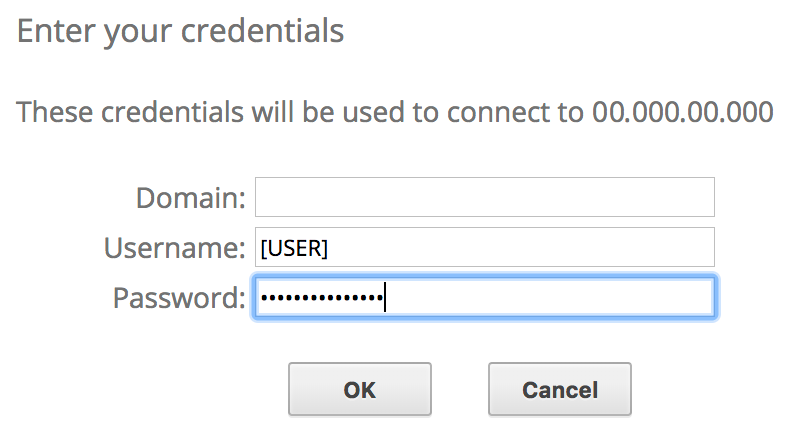 Conexão com a estação de trabalho virtual Windows e entrada da senha.