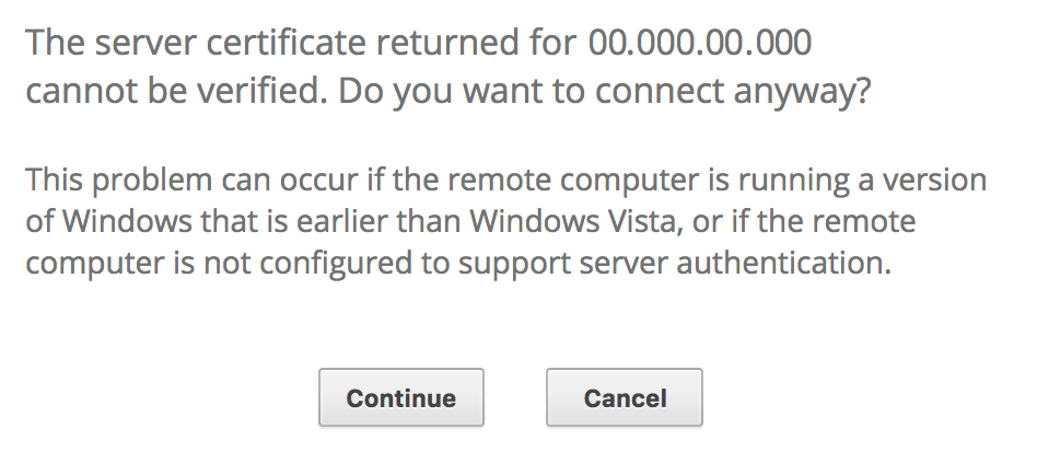 Windows connection certificate warning.