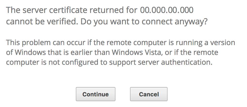 Aviso sobre o certificado de conexão do Windows.