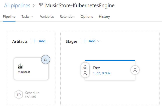 Captura de pantalla de la canalización actualizada en AzurePipelines