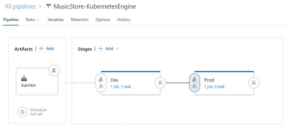 Azure Pipelines의 업데이트된 파이프라인 스크린샷