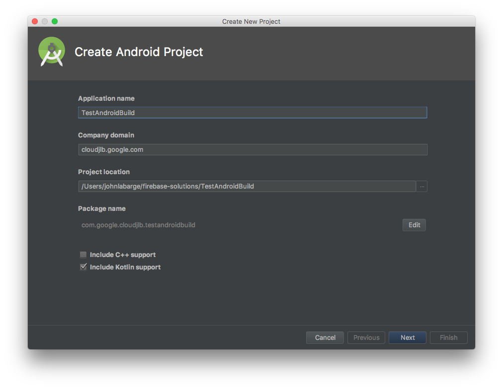Android Studio wizard, page 1