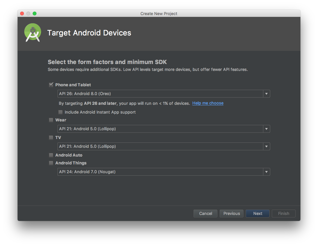Android Studio wizard, page 2