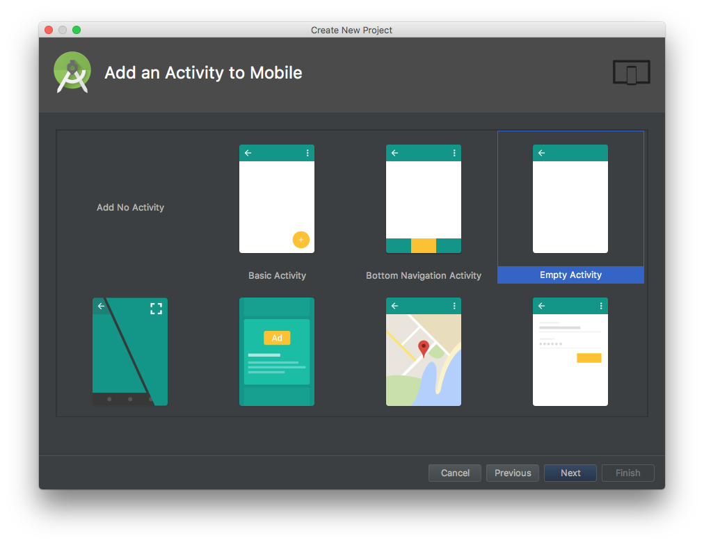 Android Studio wizard, page 3