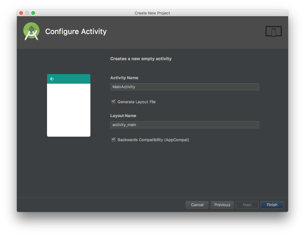 Android Studio wizard, page 4