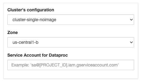 Form for launching a cluster with sample values filled in.