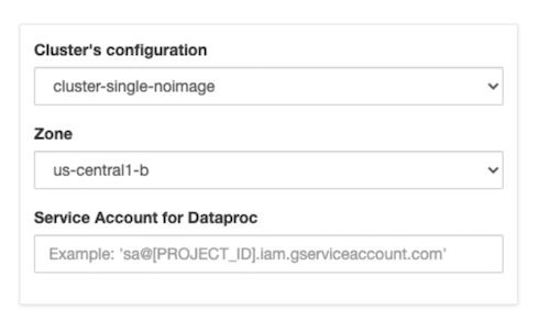 Form showing options for launching a clusterk but with an added textbox for the service account.