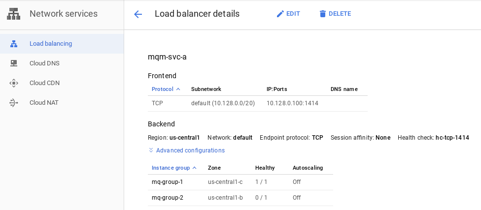 Console page for load balancers, showing mq-group1 and mq-group2