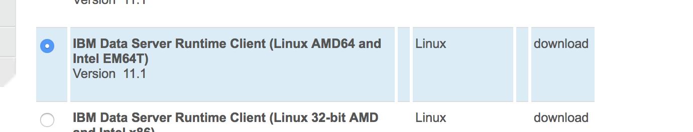 Download IBM Data Server Runtime Client (Linux AMD64 and Intel EM64T) version 11.1