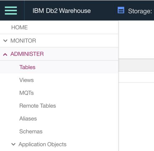 """IU de administração do IBM Db2 Warehouse, mostrando a pasta """"Tables"""""""