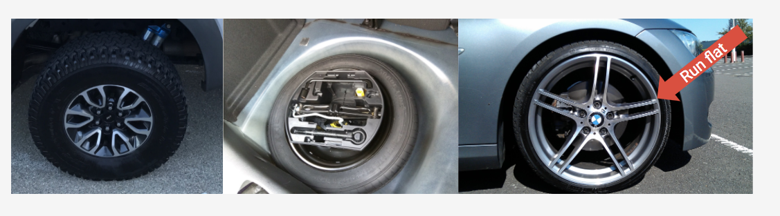 3 photos of car flat-tire scenarios: no spare; a spare with tools; a run-flat tire.