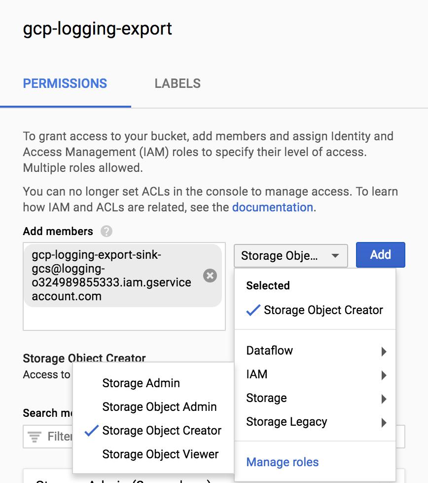 IAM policy permissions - Storage Object Creator.