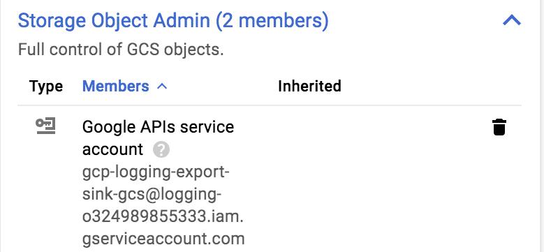 Rôle: Storage Object Admin.
