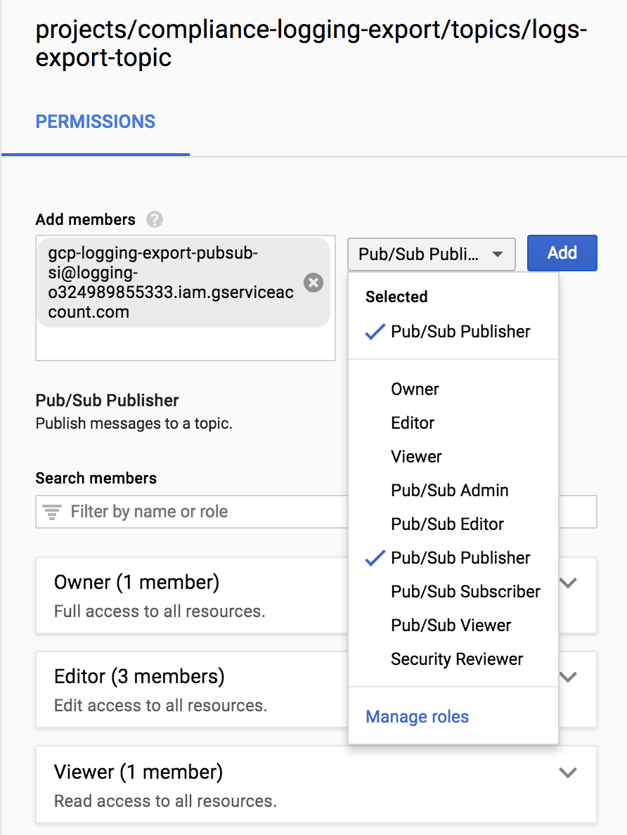 IAM policy permissions - Pub/Sub Publisher.