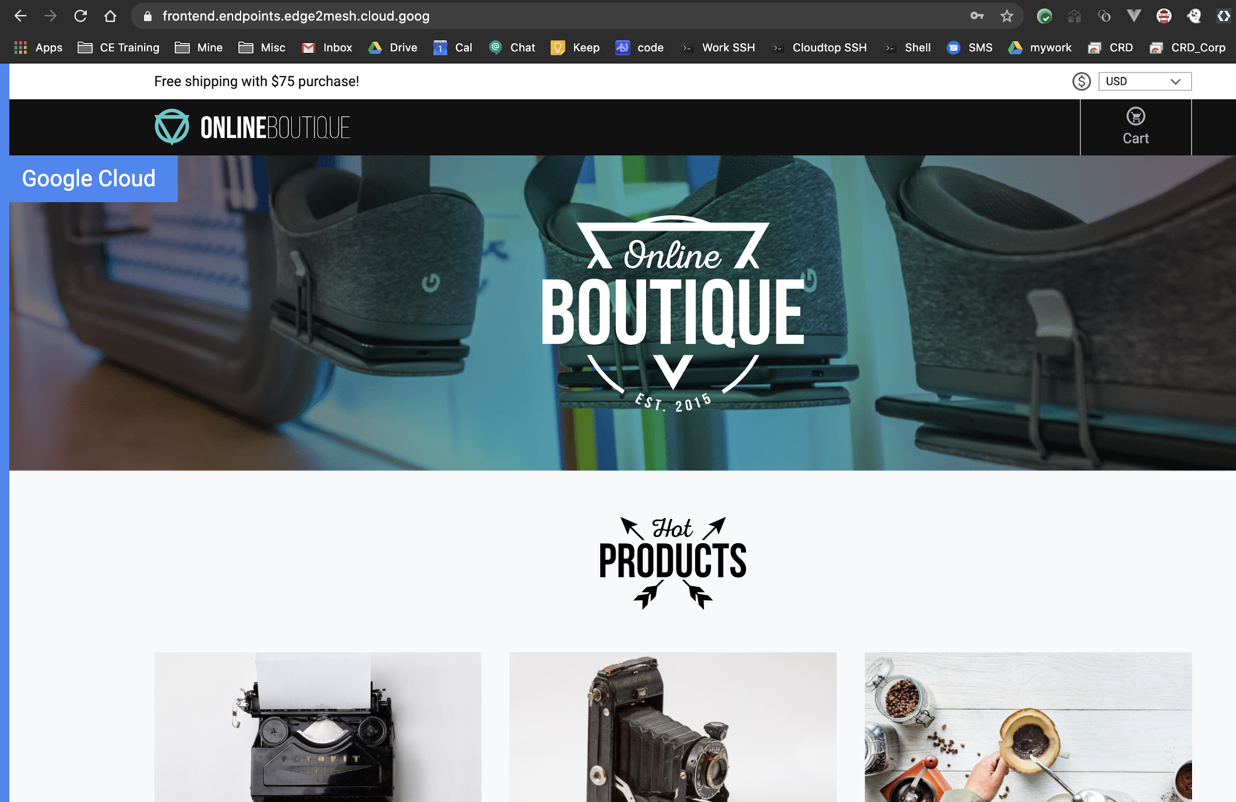 Products shown on Online Boutique home page.