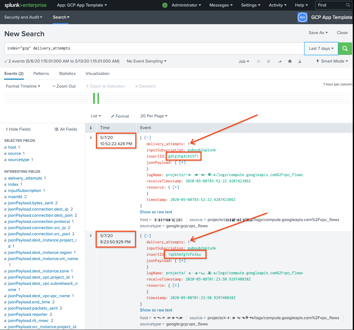 Failed messages in Splunk.