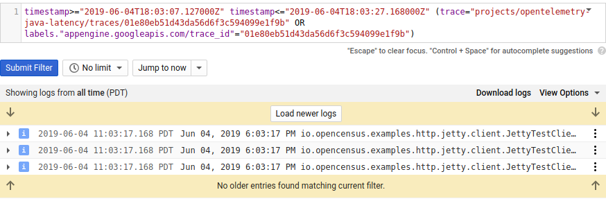 Log query with log filter.