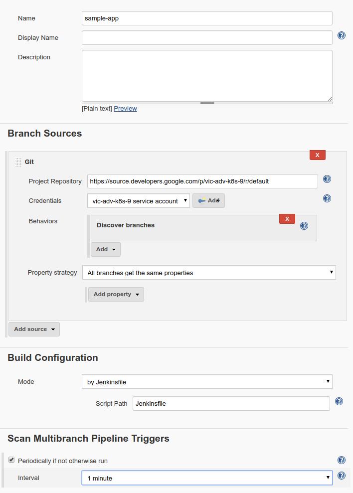 Create a Jenkins job settings.
