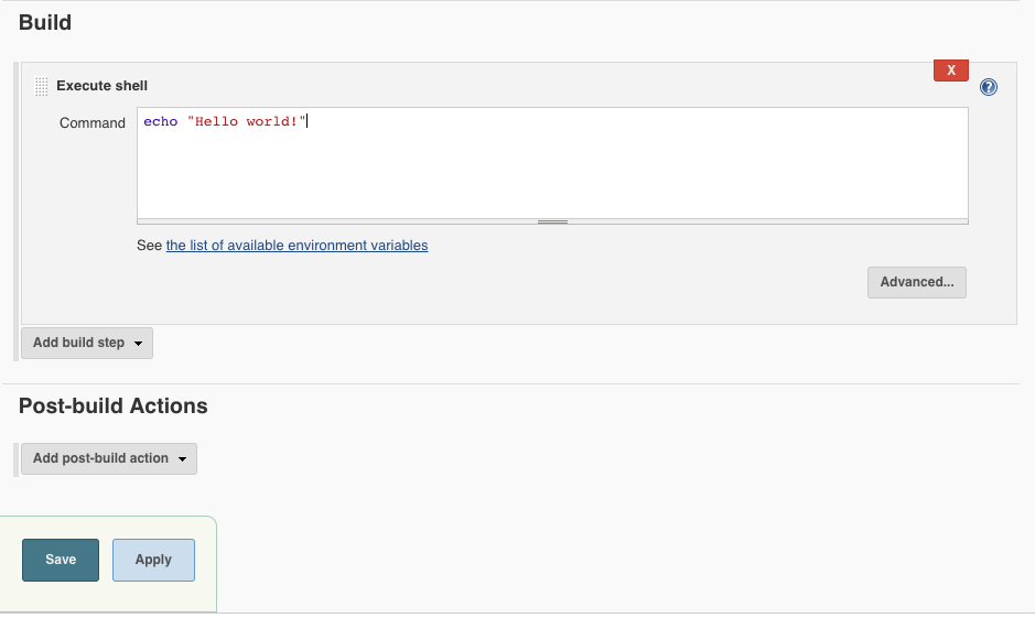 Hello World typed in the command box for Jenkins.