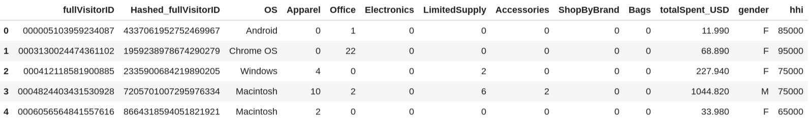 Primeiras cinco linhas de dados mesclados de cliente e transação.