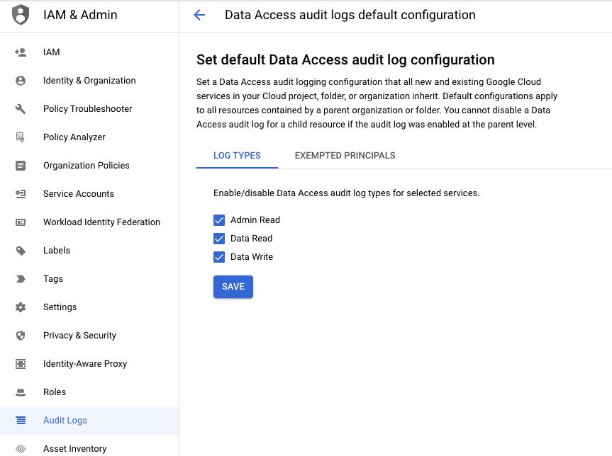启用 Google Cloud 审核日志。