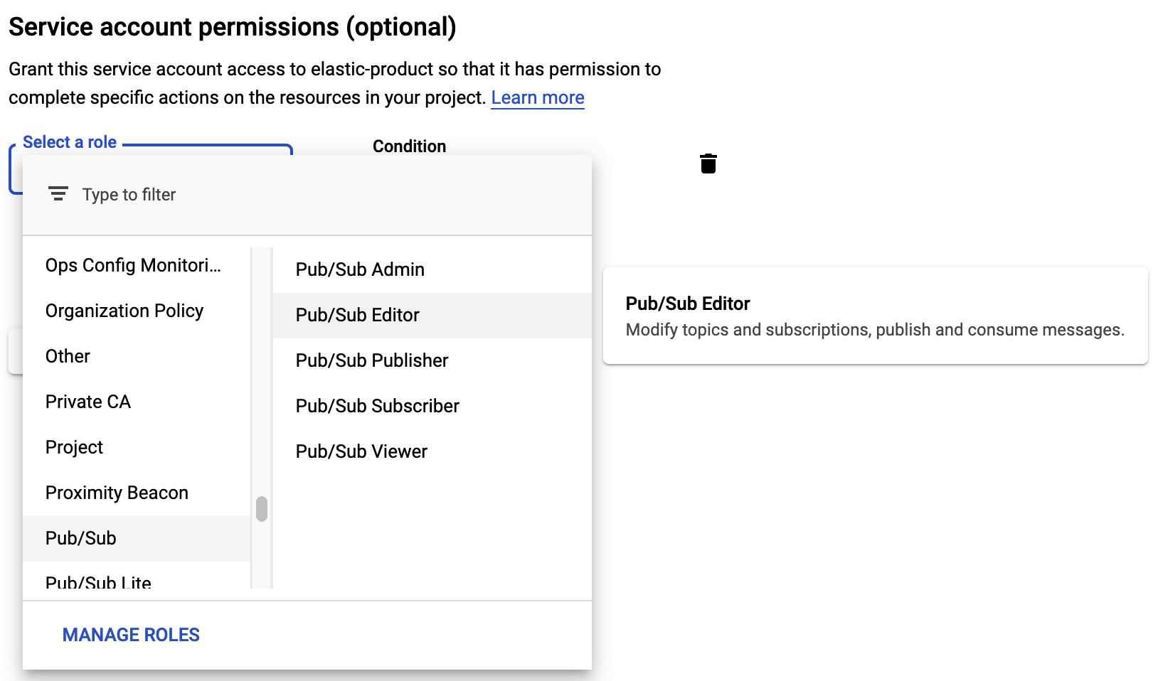 Función de editor de cuenta de servicio de Pub/Sub.