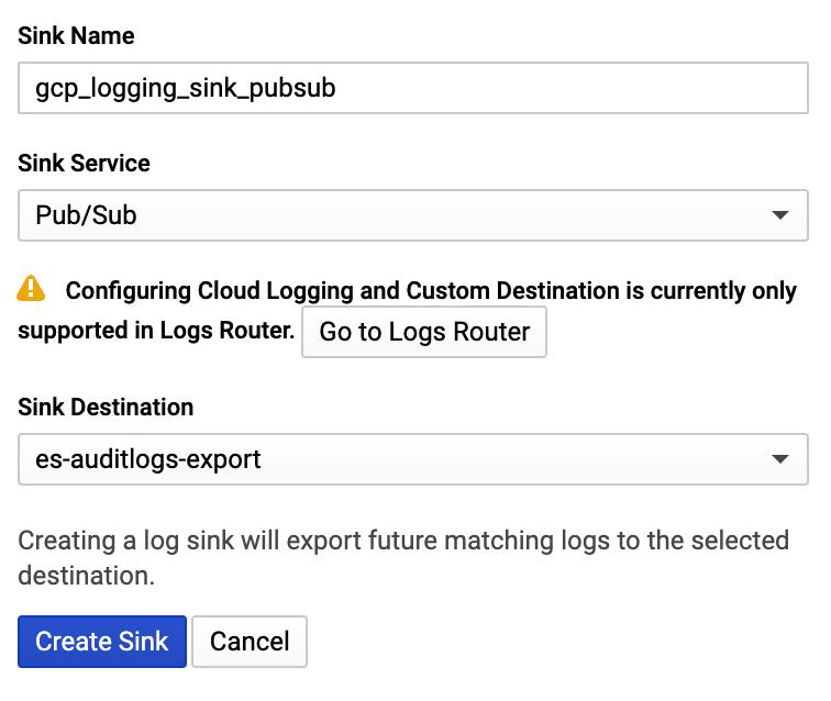 Create log sink.