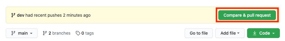 비교 및 pull 요청을 위한 GitHub 인터페이스