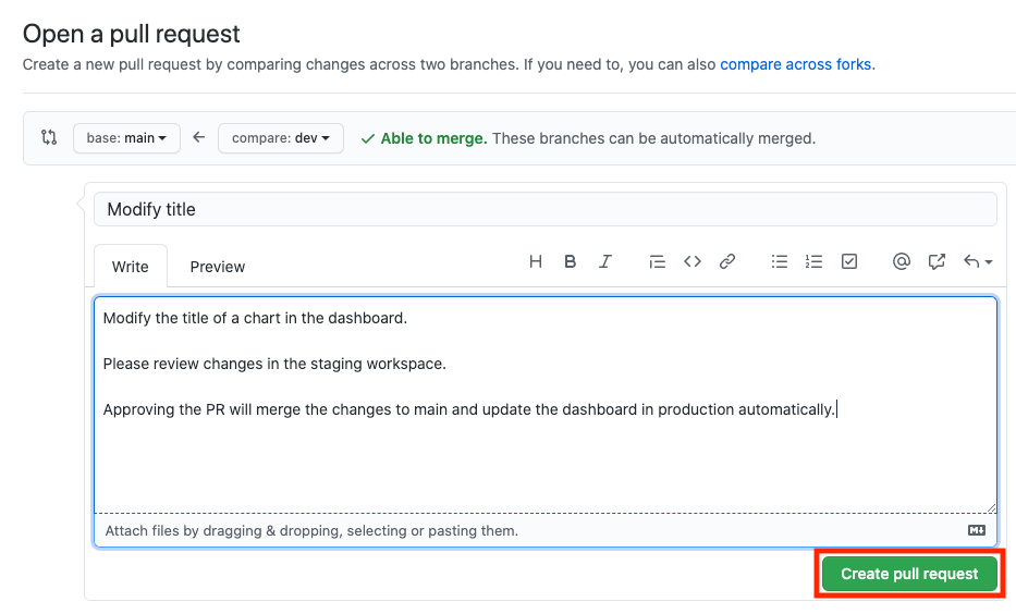 The GitHub interface to open a pull request.